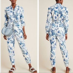 New Anthropologie Lucienne Belted Floral Jumpsuit